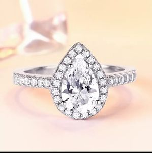 925 Sterling Silver Pear shaped CZ Wedding Ring